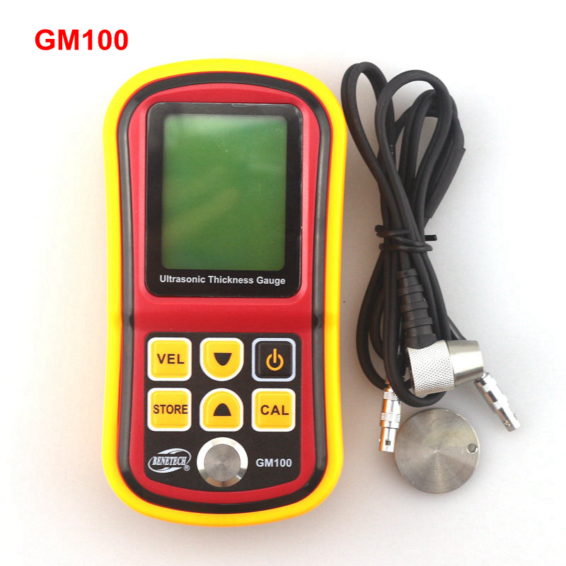 GM100 Ultrasonic Thickness Tester Metal Width Measuring Tools 1.2 to 225mm 5MHz Sound Velocity 1000 to 9999m/s Meter