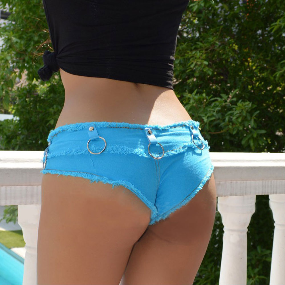 Sexy Tassel Denim Booty Shorts Vintage Cute Bikini Double Button Low Rise Micro Mini Short Night Culb Wear With Lron Ring FX035