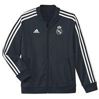 ADIDAS REAL MADRID 18/19 boys Real Madrid football jacket polyester dark gray Real Madrid jacket, Adidas Real Madrid