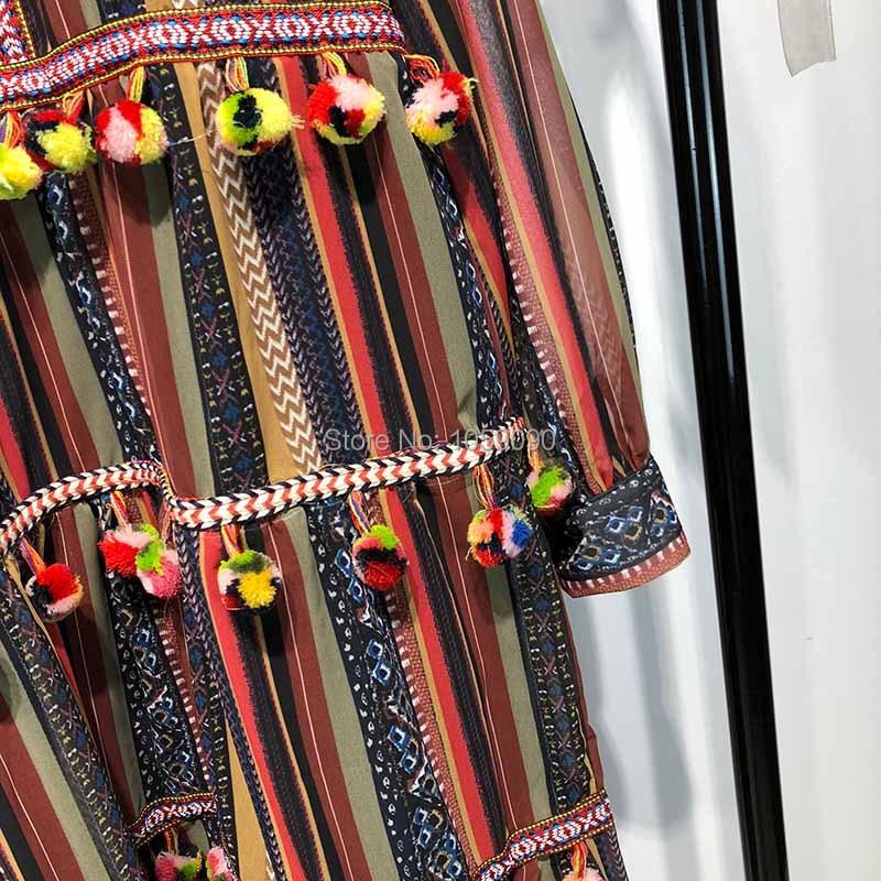 Robe 2018 Pompon embelli Rayé Longue Garnitures Coloré Pompons Manches Détendue Femme Wishbop Revers Avec À Multi Automne W29DIEH
