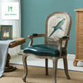There is no European fan back wood chair armchair retro hotel chair dining chair