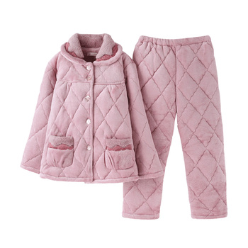 Winter keep warm quilted pajamas women long-sleeve thick flannel quilted home service suit comfortable adjustable elastic waist фото