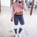 Entrenamiento de trabajo fuera de la aptitud Legging ropa de entrenamiento para las mujeres de ropa deportiva femenina ropa remiendo delgado de cintura alta pantalones de chándal T38
