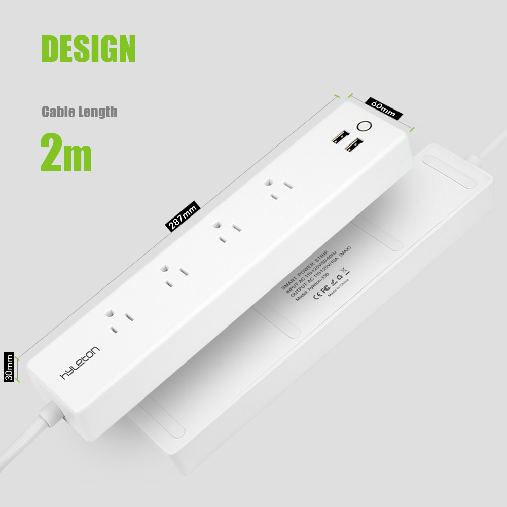 Hyleton smart power strip 2m home socket wifi plug Wireless Smart Outlet with 4 AC + 2 USB Ports for Home & Office smart home