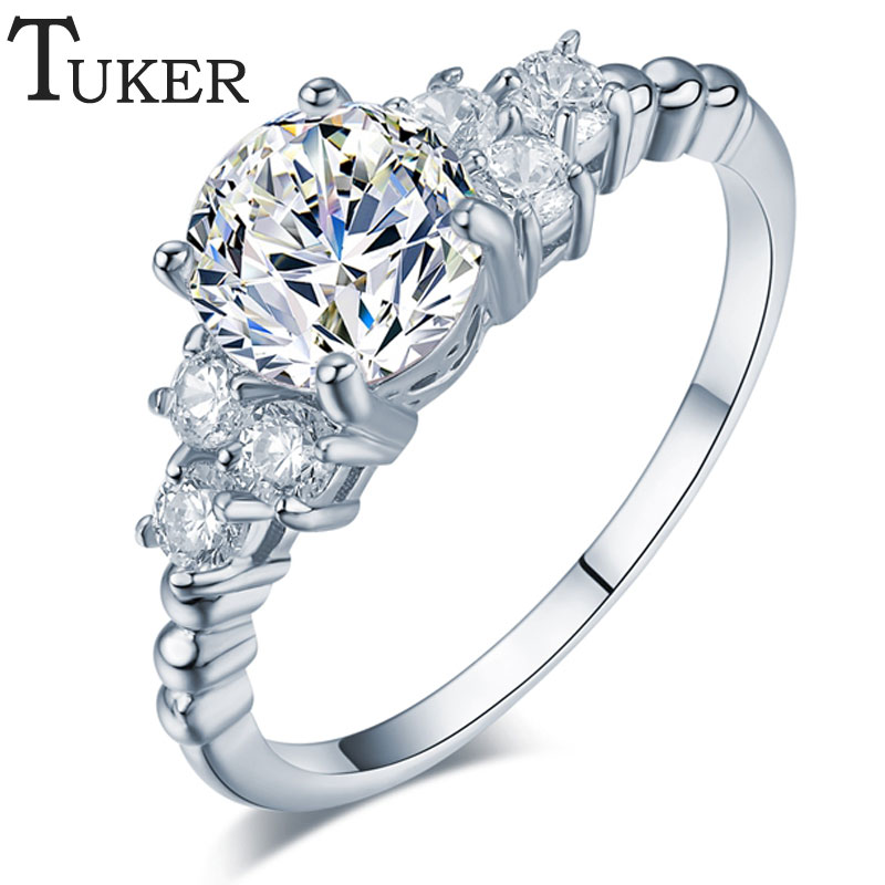 TUKER Fashion Zirconia Wedding Engagement Rings For Women white Gold color Fashion Jewelry Female Ring Bijoux