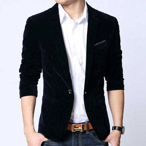 Mens blazer slim fit suit jacket black blue velvet coat spring ...