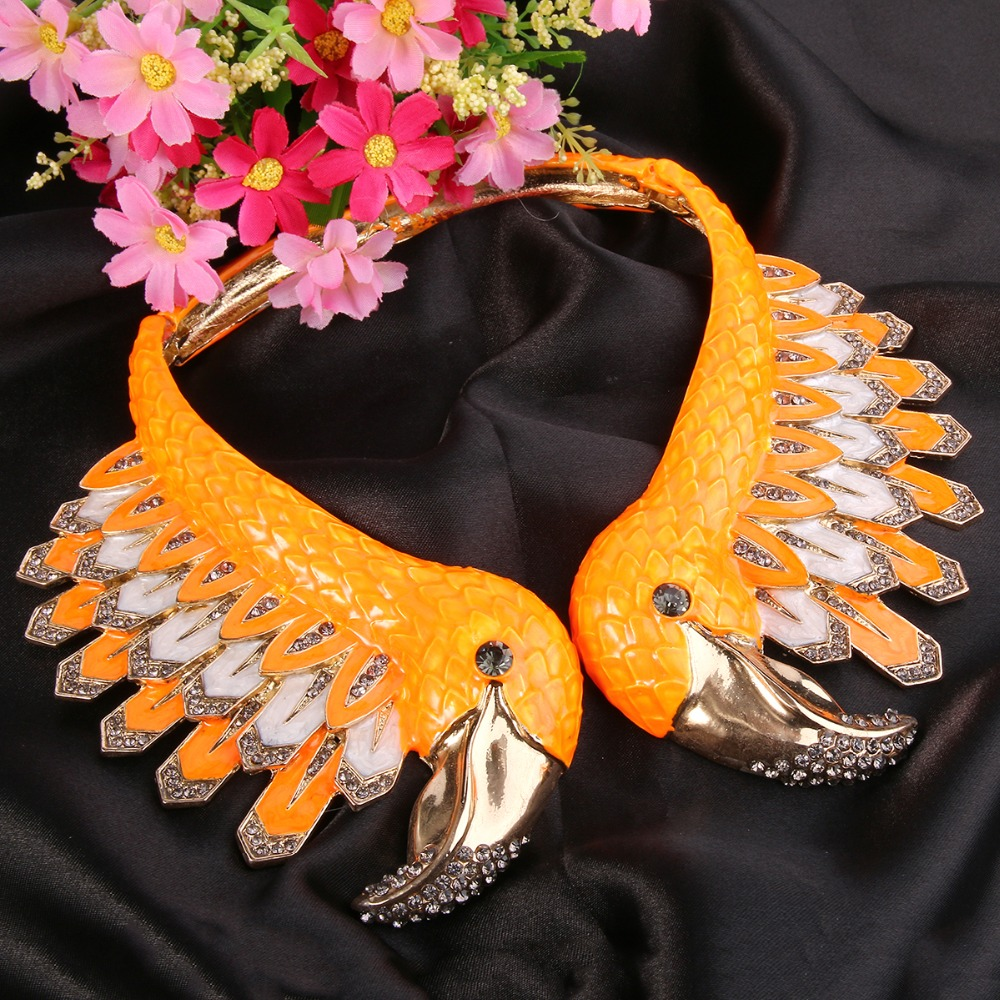 Bella Fashion Enamel Flamingo Bird Animal Statement Necklace Austrian Crystal Rhinestone Necklace For Women Party Jewelry Gift vintage bird wings necklace for women