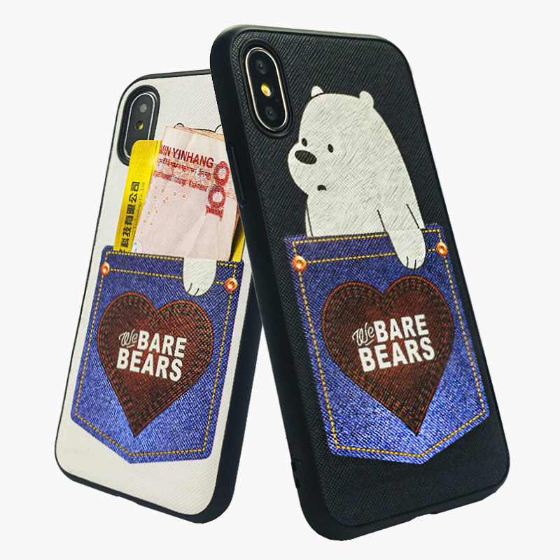 BROTOLA Cute Cartoon Bear Phone Case For iphone 7 8 6 6s Plus luxury Pu Leather Cover For iPhone X Case With Card Pocket Gags