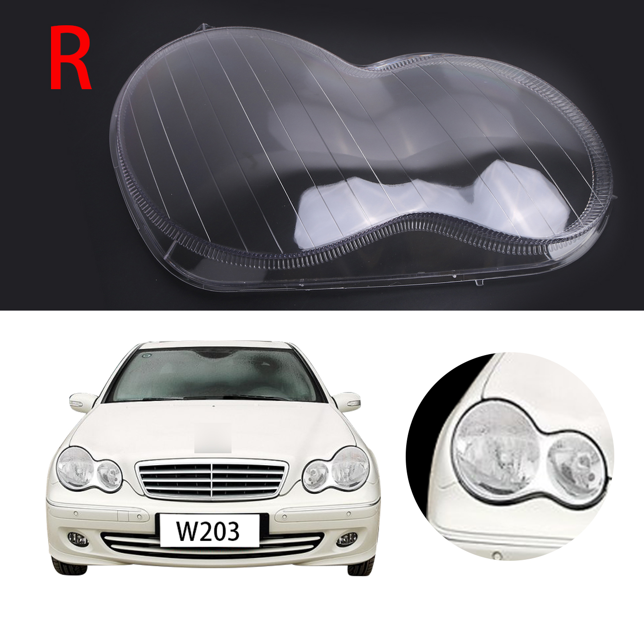 Right Transparent Headlight Lens Shell Cover font b Lamp b font Assembly For Mercedes Benz 4