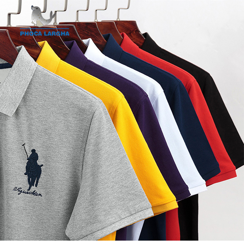 Casual PoloShirts Men Solid Color 3D Embroidery Summer Short Sleeve For Man Slim Fit Cotton Camisa   Polos   para hombre Masculina