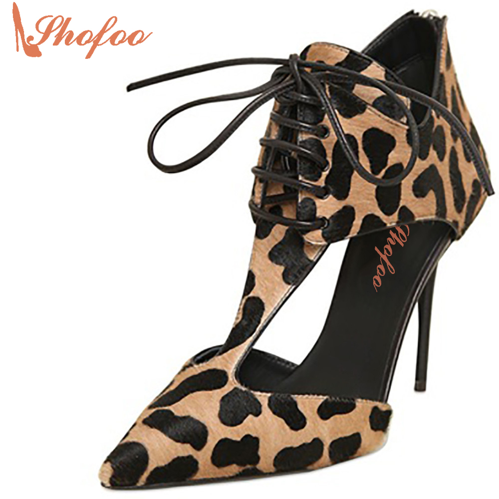 ФОТО Shofoo 2017 Women  Shoes Sexy Leopard 10cm High Heels Pumps Lace-up&Zipper Casual&Party Pointed Toe Sandals , Large Size 4-16.