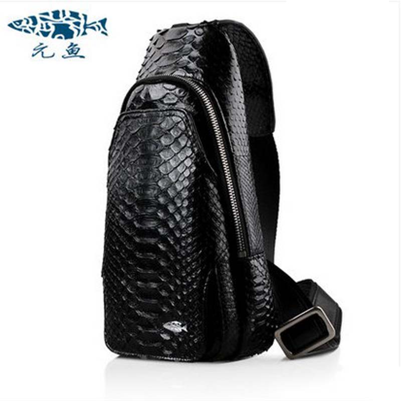 yuanyu  Authentic real python skin men and women chest package travel outside men bag  one shoulder  leisure bag