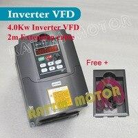 ЕС/RU доставки! 220 В 4KW переменной частоты VFD инвертор 5HP 18A Скорость контроллер для шпинделя + 2 м состоянии + пластик держатель