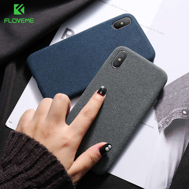 best service e5d0a 6e8b5 US $2.21 40% OFF|FLOVEME Cloth Texture Case for iPhone X 8 7 plus Soft  Phone Cases for iPhone 8 iPhone 6 6s plus Back Cover Business Capa  Conque-in ...