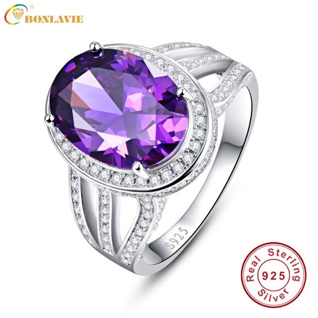 BONLAVIE 10.2 Carats Amethyst Purple Rings Real Pure 925 Sterling Silver Antique Female Designs Oval Ring Engagement Jewelry