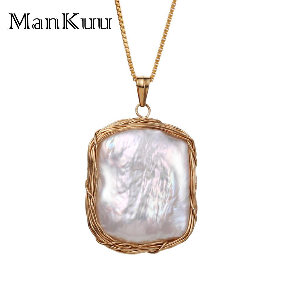 Baroque Style Natural White Freshwater Pearl Tag Necklaces 14K Gold Wire Wrap Pearl Necklaces For Women Luxury Wedding Necklaces