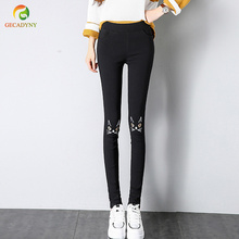 Spring Stretch Embroidered Jeans For Women Elastic Butterfly Embroidery Pencil Pants Female Pantalon Plus Size Trousers Girls