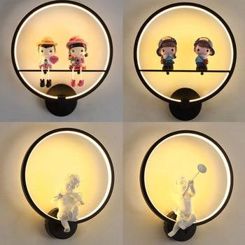 Nordic Iron Art LED Wall Lamps Angel Couple Modern Wall Light Creative Wall Sconces for Home Decor Living Room Bedroom Lighting