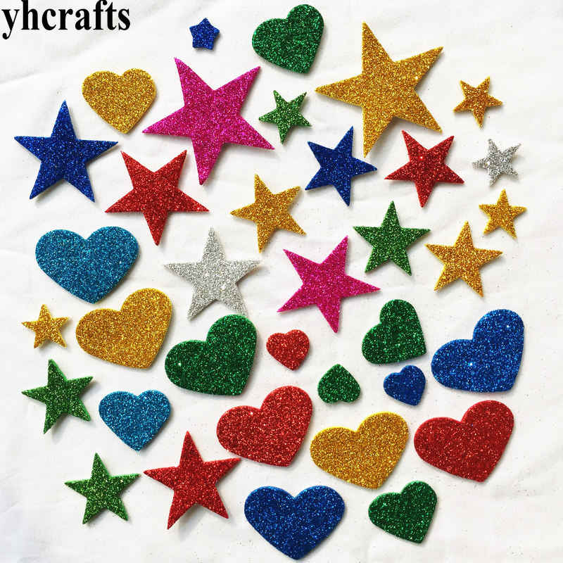 50PCS/LOT.Glitter star heart foam stickers Creative activitity items Early learning educational toys Kids room decoration DIYOEM