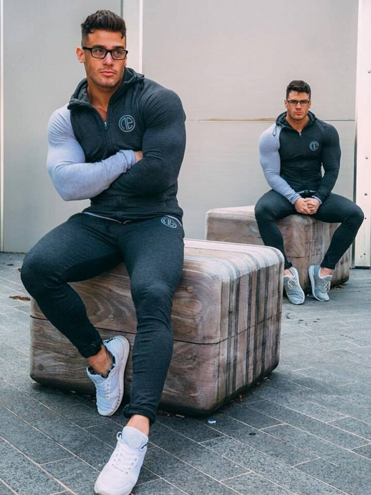 Hommes course ensembles de vêtements de sport sweat-shirt pantalons de survêtement Gym Fitness Bodybuilding Hoodies pantalon mâle Jogging Crossfit marque survêtements