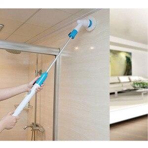 Турбо-скраб, щетка для чистки, электрическая вращающаяся скруббер, беспроводная, заряжаемая, для ванной комнаты, с удлинительной ручкой, Ада...