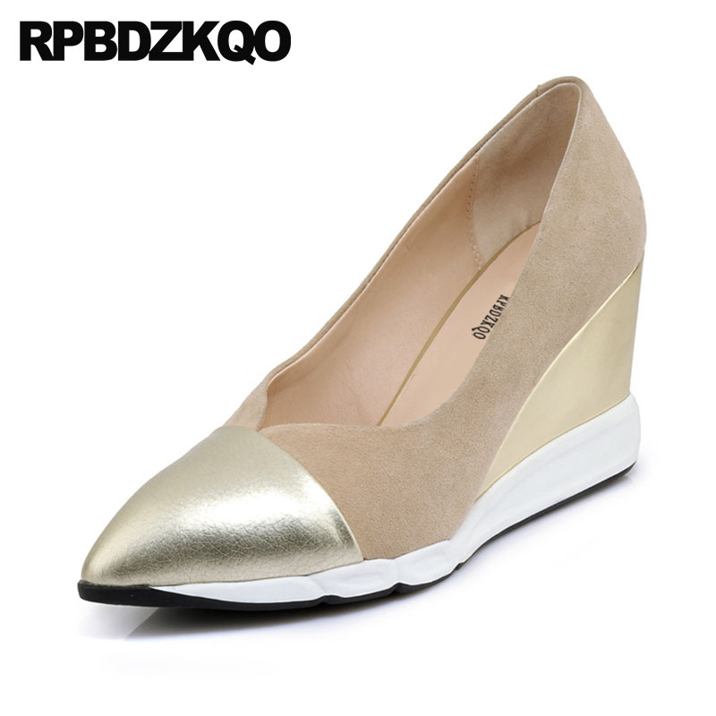 Gold Pumps Shoes Size 33 Wedge 3 Inch Multi Colored Genuine Leather Casual Ladies High Heels 2018 Suede Pointed Toe 4 34 Golden недорого