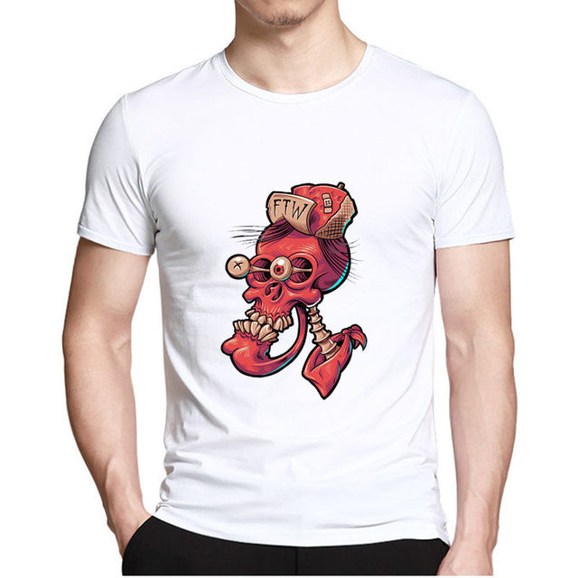 Creative Skull Print T-shirt For Men Casual Fashion Hip hop Short sleeve t shirt Male Tee Tops Man Summer style Hipster Clothing 4