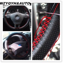 38cm Car Styling Black DIY Car Steering Wheel Cover With Needles and Thread Genuine Artificial leather Car-Styling Accessories(China)