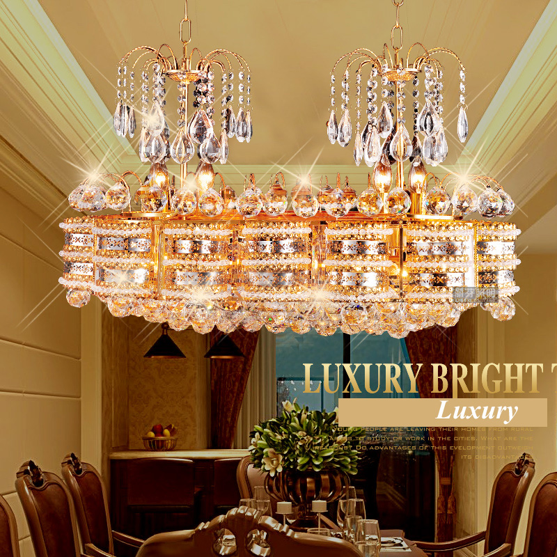 Living Room Oval Crystal Pendant Lamp Restaurant LED Double Head Dining Pendant Villa Square Bedroom Lighting Fixtures modern crystal chandelier hanging lighting birdcage chandeliers light for living room bedroom dining room restaurant decoration