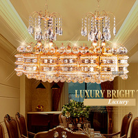 Living Room Oval Crystal Pendant Lamp Restaurant LED Double Head Dining Pendant Villa Square Bedroom Lighting