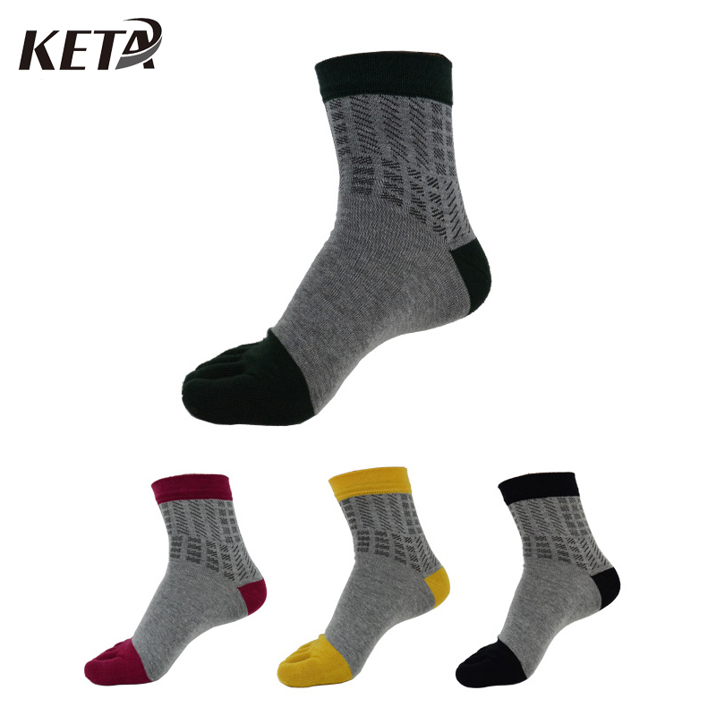 KETA Fashion Men Socks Casual Five Finger Toe Sox Cotton Breathable In Tube Male Cool Geometric Business Dress Socks(4Pairs/lot)