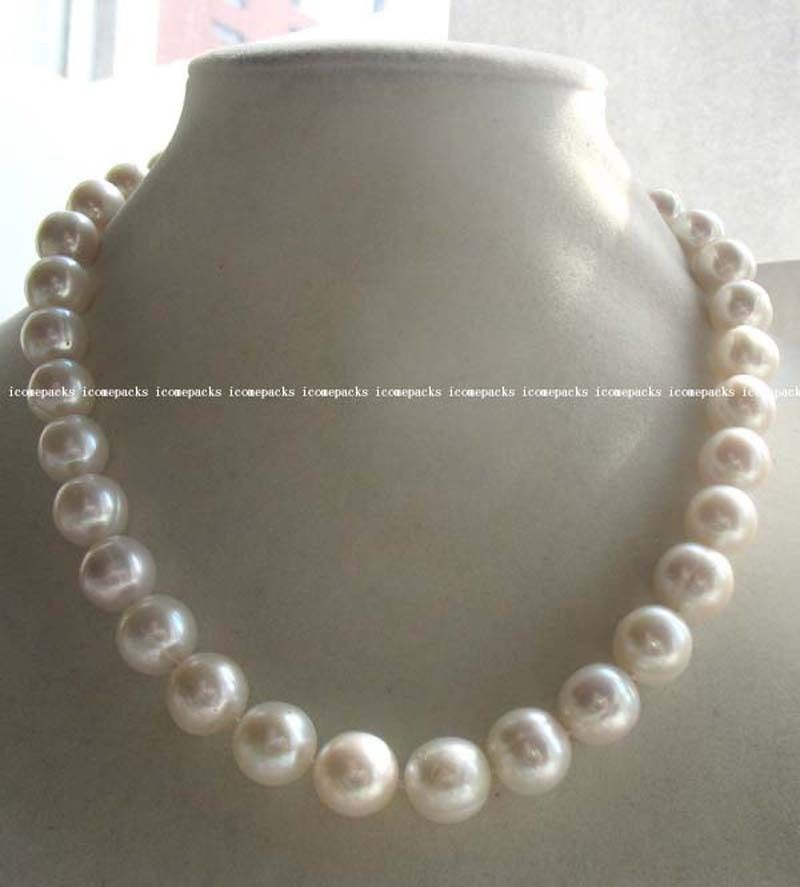 wholesale 11 12mm A freshwater pearl white round necklace 17