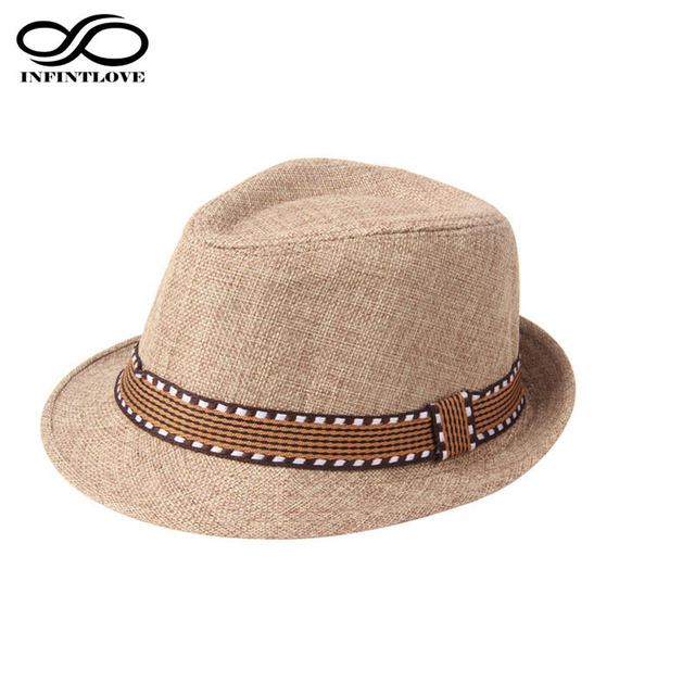 LUCKYLIANJI Children Kid Hemp Beige Fedora Trilby Beach Panama Gangster Sun  Jazz Hat Cap (One Size 54cm) 7e80e21c3612