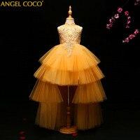 Роскошный цветок девушки вечернее платье День рождения свадебное платье принцессы цветочный Fille детская одежда бальное платье