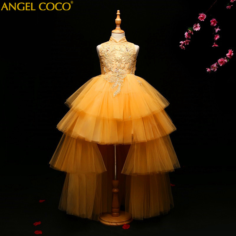 Luxury Flower Girls Evening Dress Birthday Party Wedding Princess Dress Floral Robe Fille Child Clothing Kids Clothes Ball Gown girl dress princess floral autumn long sleeve gown party dresses kids clothes bow flower robe fille rapunzel kids dress 12 year