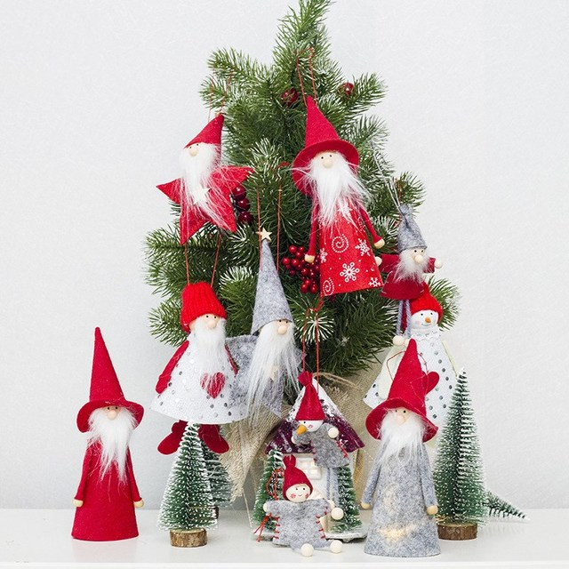christmas cloth doll pendant mini christmas tree decor angel santa snowman xmas doll ornament christmas decoration