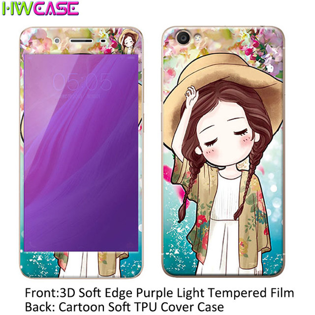 best sneakers a2442 175a0 US $4.18 |3D Cartoon TPU Back Cover Phone Case + Soft Arc Edge Anti Blu ray  Tempered Glass Film For Vivo Y53 Y55 Y66 Y67 Screen Protector-in ...