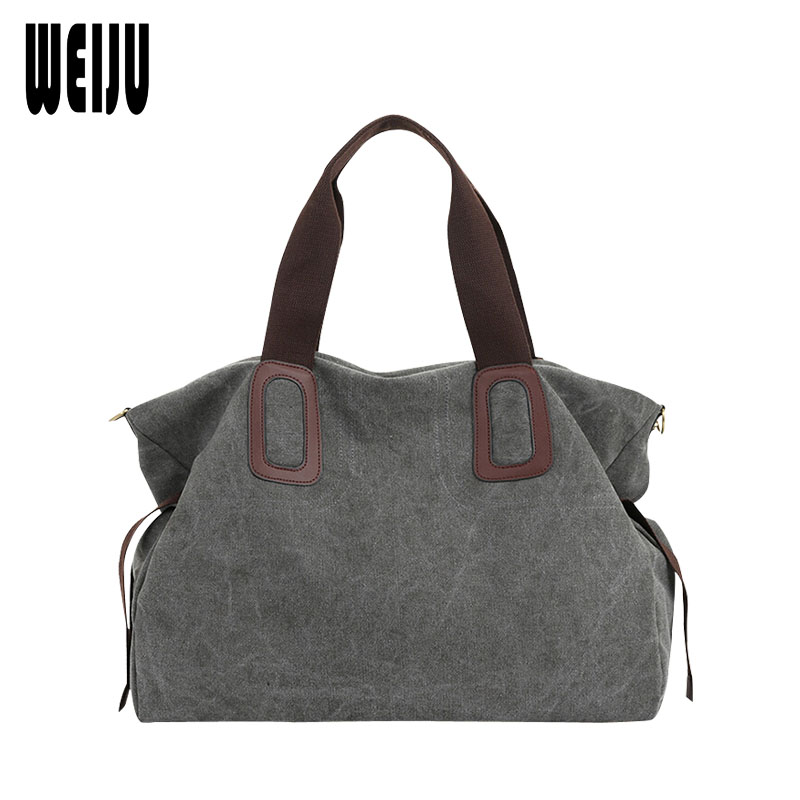 WEIJU New Canvas Women Handbag Large Capacity Casual Tote Bag Women Men Shoulder Bag Messenger Crossbody Bags Sac A Main rivet bag for women casual large capacity tote handbag horizontal vertical type useful shopping bag necessity sac bolsas new2015