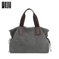 WEIJU New Canvas Women Handbag Large Capacity Casual Tote Bag Women Men Shoulder Bag Messenger Crossbody