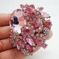 Новинка симпатичный розовый цветок лист брошь контактный горный хрусталь кристалл