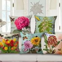 3D Flower Print Cushions No Inner Design Flower Linen Cotton Home Decor Sofa Car Seat Decorative