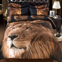 WARM TOUR 3D Lion Bedding Set with Comforter Statement Cool 3D Lion 5 Piece Comforter Set, Twin/ Full/ Queen/ King/Size