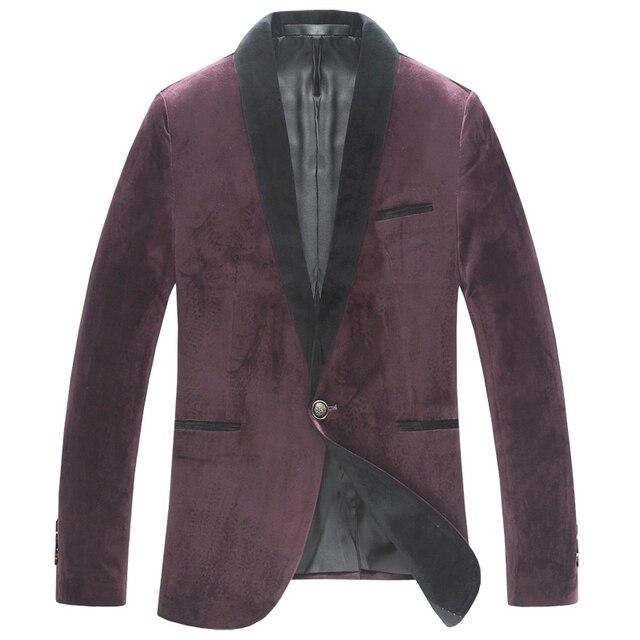 British Style Spring Autumn Mens Formal Business Patchwork Suit Collar Velvet Green Wine Red Blazer  Men Dress Slim Fit Blazers