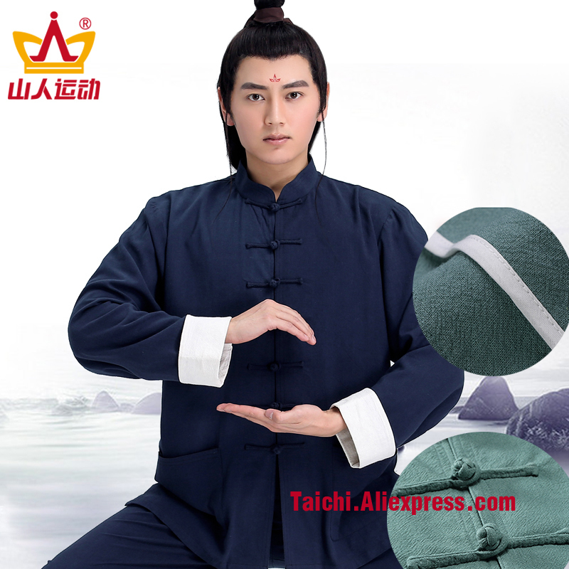 Flax Tai Chi Clothes Male Linen  Roll Sleeves  Wing Chun Uniform Kung Fu Martial Art Suit Chinese Stlye Sportswear Jacket Pant