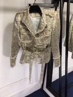 Элитный бренд 2018 осенняя одежда Для женщин Шерсть Шелк куртка золото юбка Модный комплект кнопки пояс элегантные женские офисные костюм