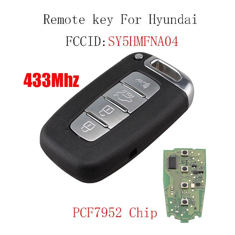 4 Boutons À Distance Smart Key 433 Mhz Pour HYUNDAI SONATA GENESIS EQUUS VELOSTER 2009 2010 2011 2012 2013 2014 2015 SY5HMFNA04