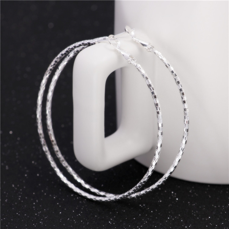 6cm with 925 logo Silver Basketball Wives Hoop Earrings For Women Gypsophila