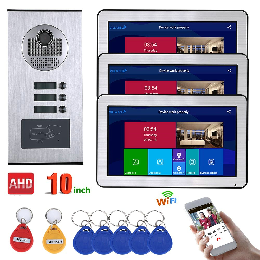 Video Intercom Systems 3 Apartments 10 Inch Record Wired  AHD 720P Video Door Phone Intercom System RFID IR-CUT Camera