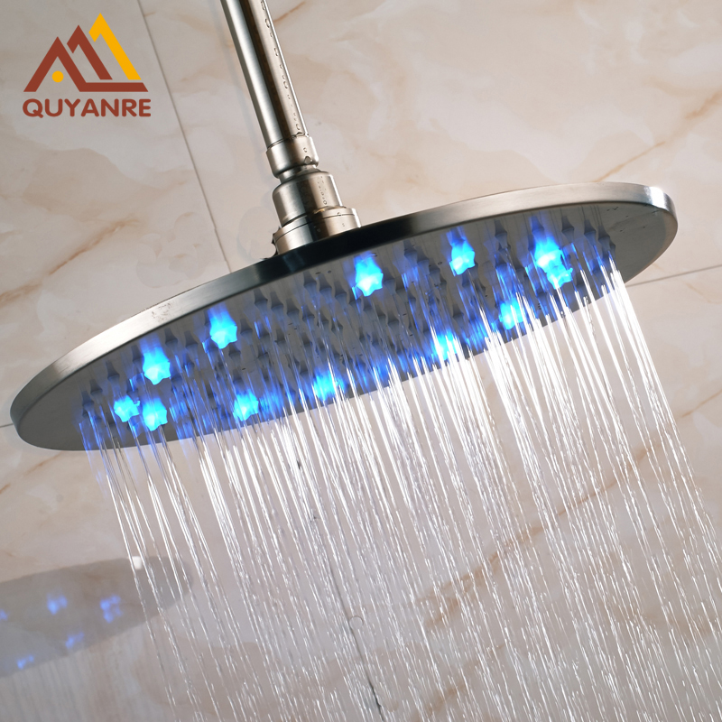 Wholesale and Retail LED Light Rain Shower Head Wall Mount Bathroom Round Shower Head Brushed Nickle hot sale wholesale and retail promotion new modern brushed nickel 12 rain shower head ultrathin shower head replacement