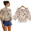Western Fashion Slash Neck Half Sleeve Floral Chiffon Blouse Women Tops Blouses Ladies Casual Shirt camisas mujer kimono
